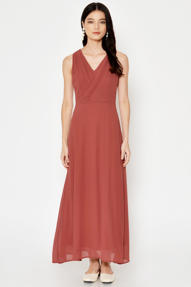 LAEYA PLEATED WRAP MAXI DRESS
