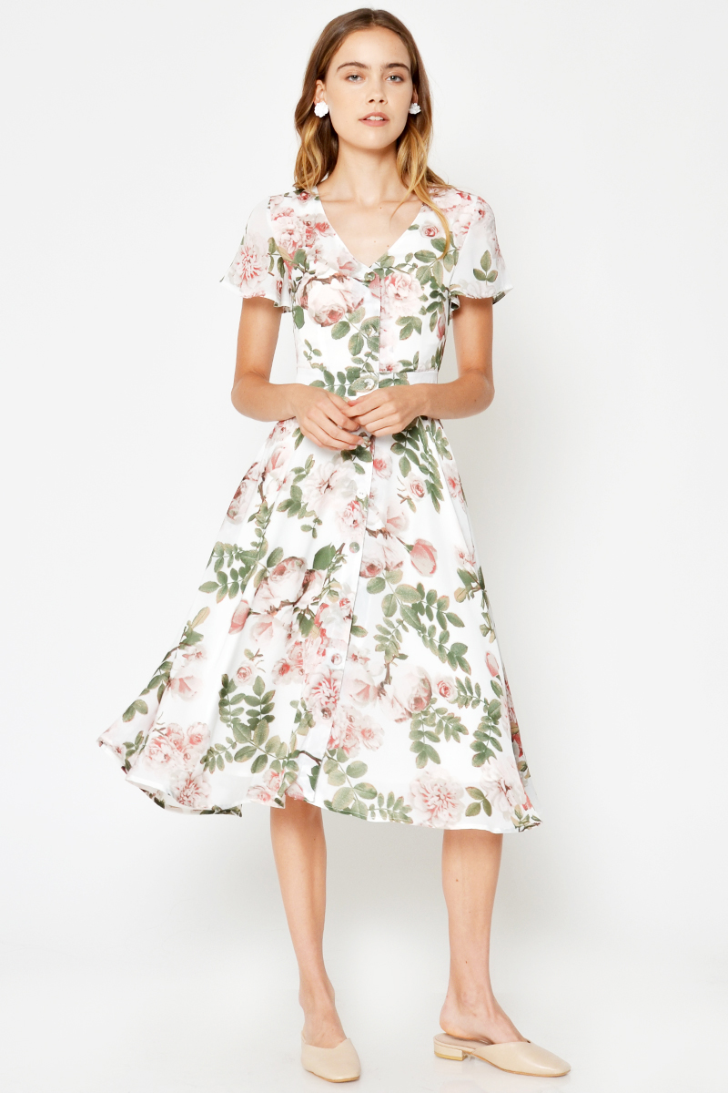 *BACKORDER 4* LETASHA FLORAL MIDI DRESS