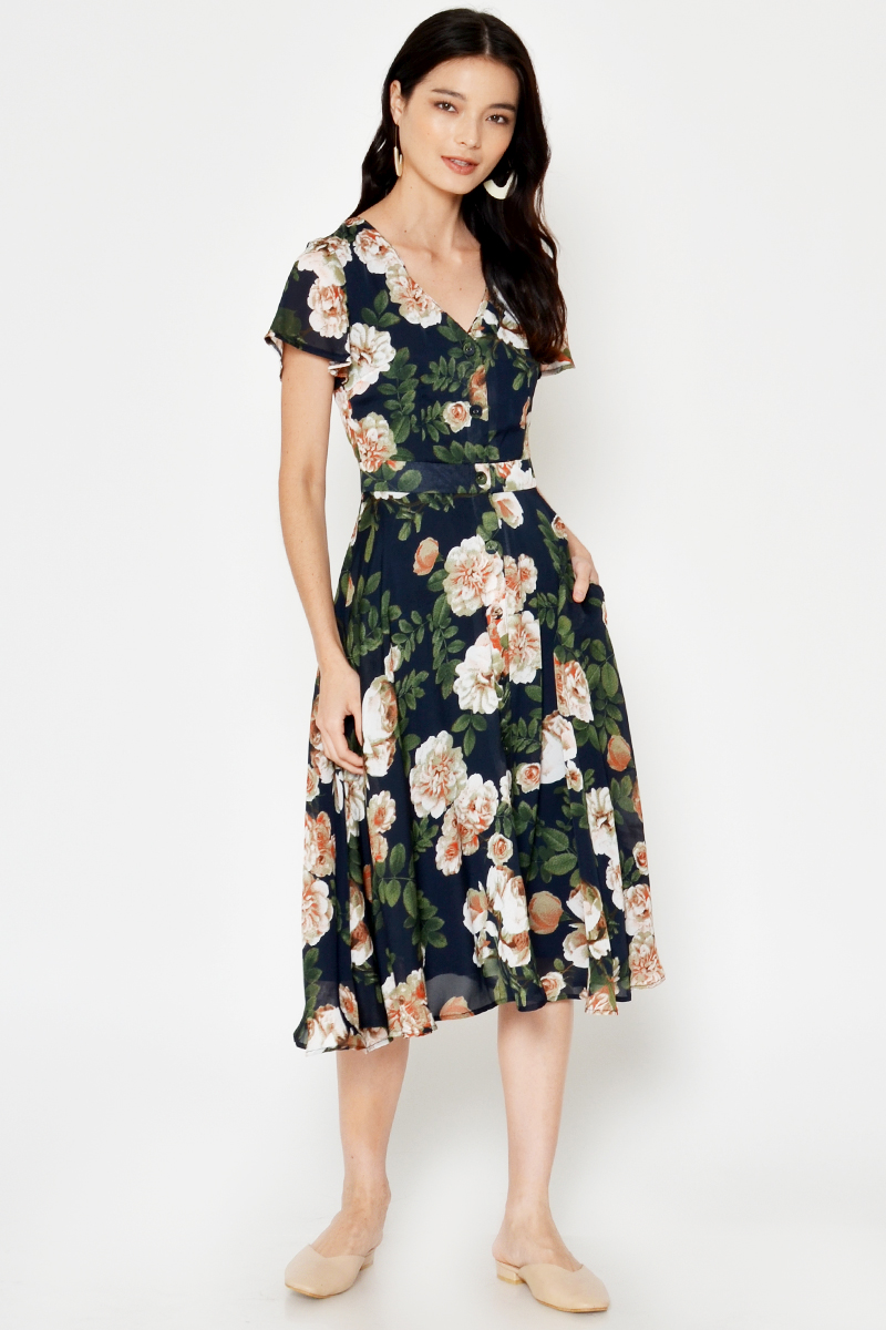 LETASHA FLORAL MIDI DRESS