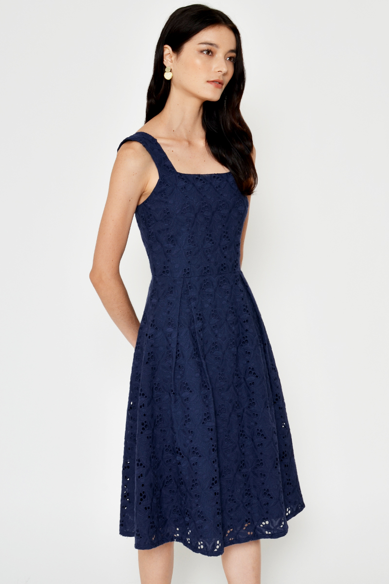 MAELINE CROCHET FLARE DRESS
