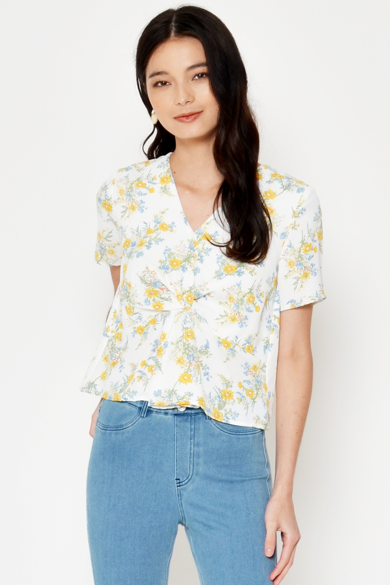 KAVYA FLORAL TWISTED KNOT TOP
