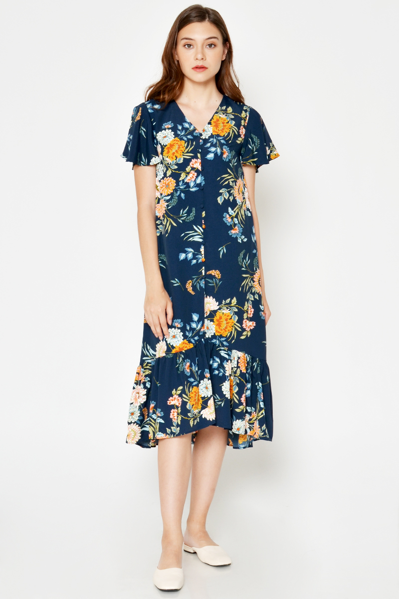 ELMI FLORAL MIDI DRESS W SASH