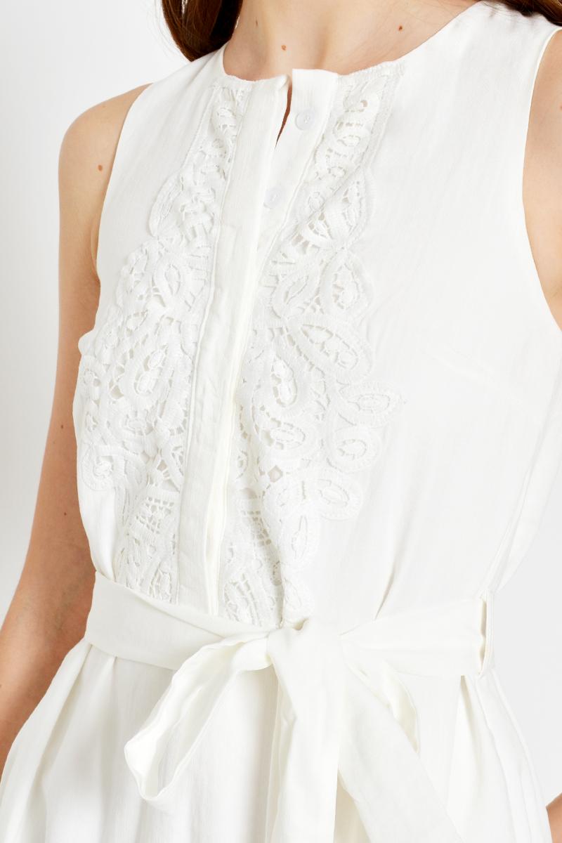 HOSANNA CROCHET FLOUNCE FLARE DRESS