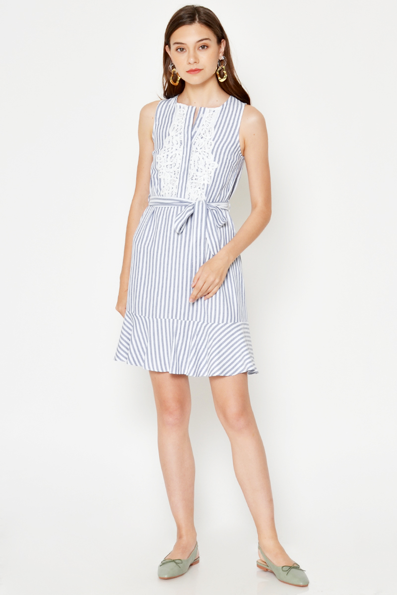 JOYCE STRIPE CROCHET FLOUNCE DRESS W SASH