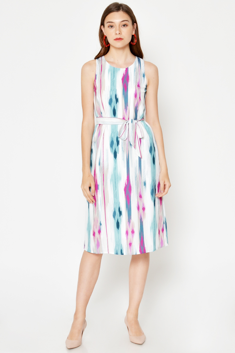 MAXINE ABSTRACT MIDI DRESS W SASH