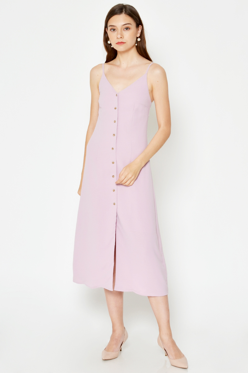 NANCY BUTTONDOWN OPEN BACK MIDI DRESS