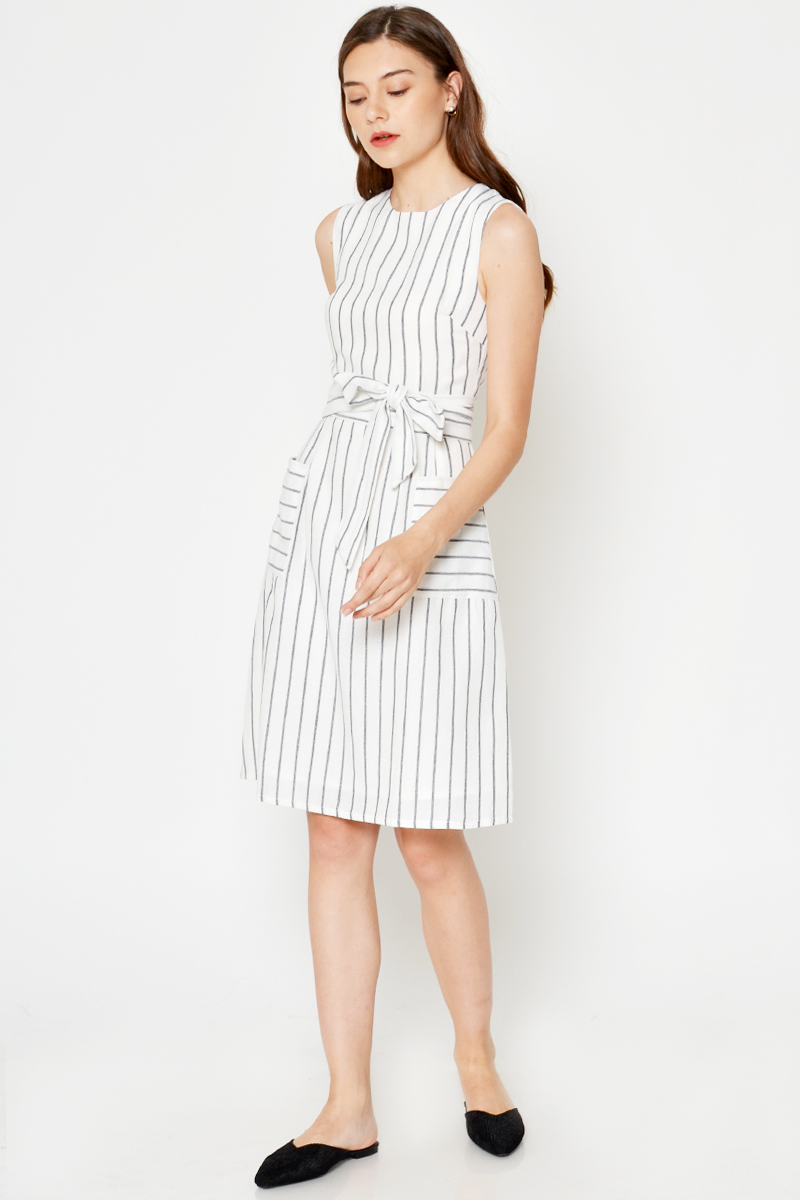 TIRA STRIPE FRONT POCKET DRESS W SASH