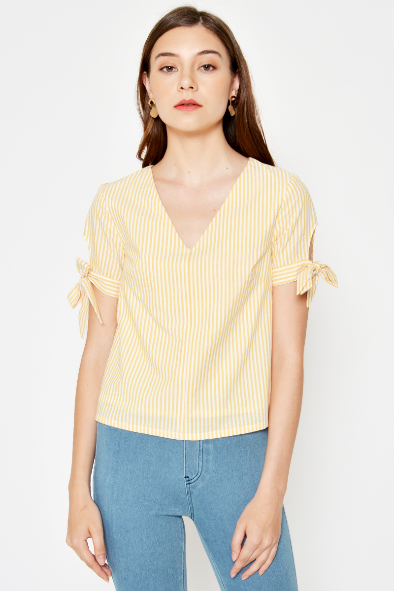 ZIANE STRIPE TIE SLEEVE TOP