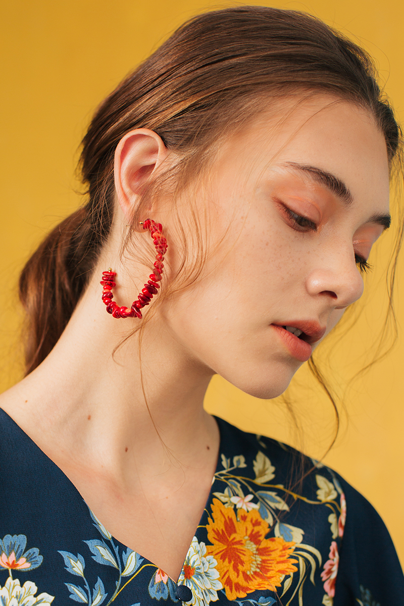 RED STONES HOOP EARRINGS