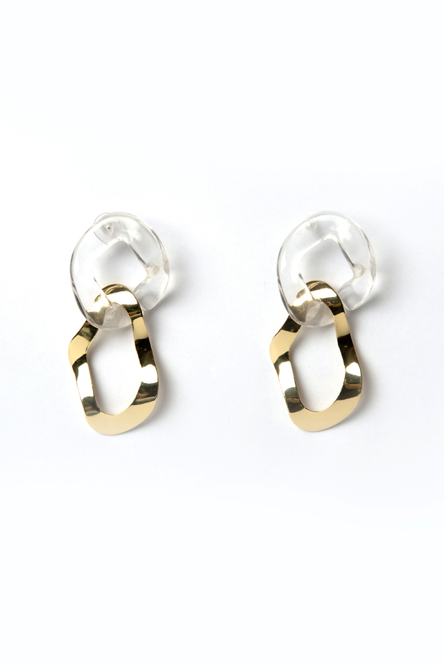 ACRYLIC X GOLD DROP EARRINGS