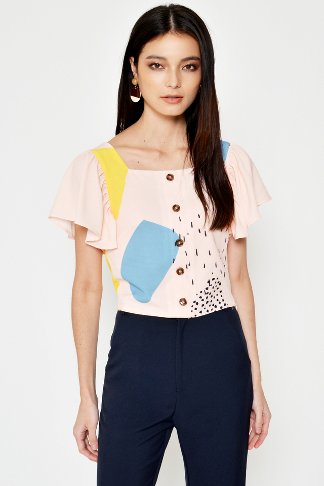 CLAIRE ABSTRACT PRINTED BUTTON TOP