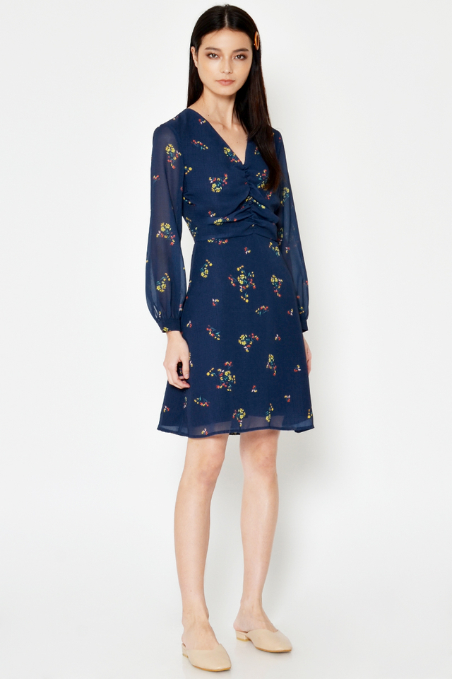 LYLA RUCHED FLORAL DRESS