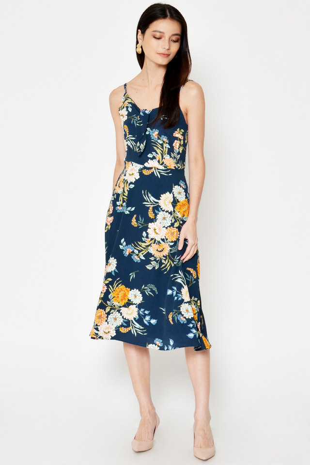 SOPHIE FLORAL FRONT TIE MIDI DRESS