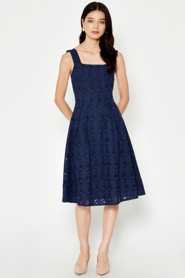 MAELINE CROCHET FLARE DRESS