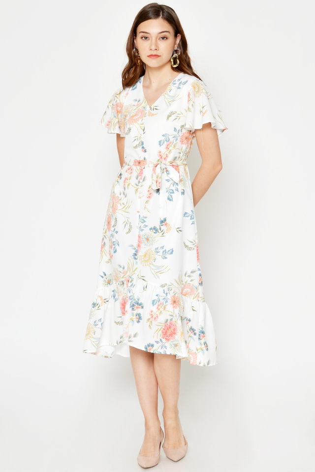 *BACKORDER* ELMI FLORAL MIDI DRESS W SASH