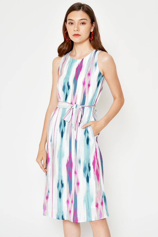 *BACKORDER* MAXINE ABSTRACT MIDI DRESS W SASH