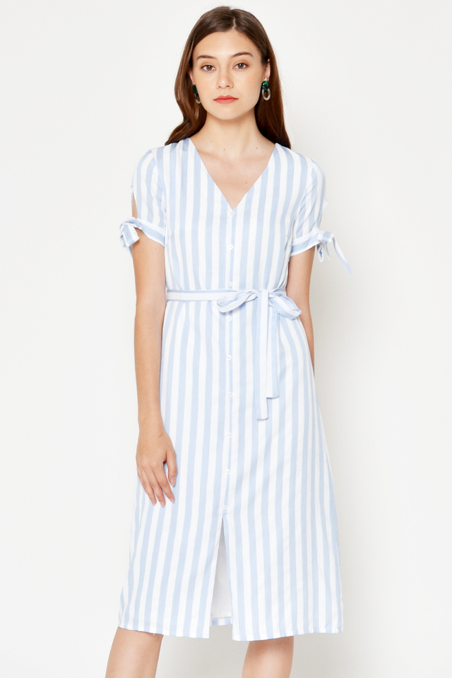 PRISCHA STRIPE TIE SLEEVE MIDI DRESS W SASH