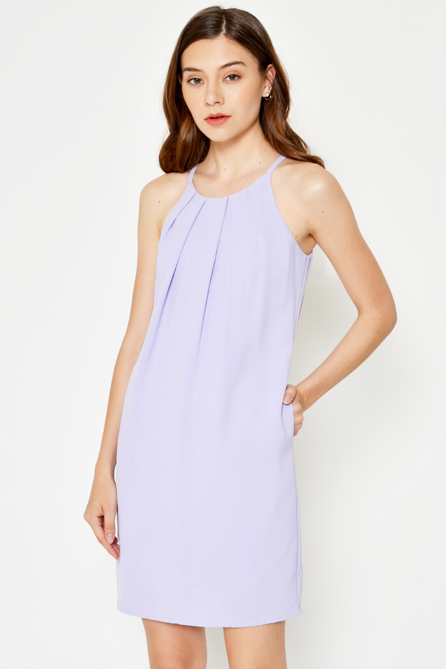 RAELIA PLEATED HALTER SHIFT DRESS