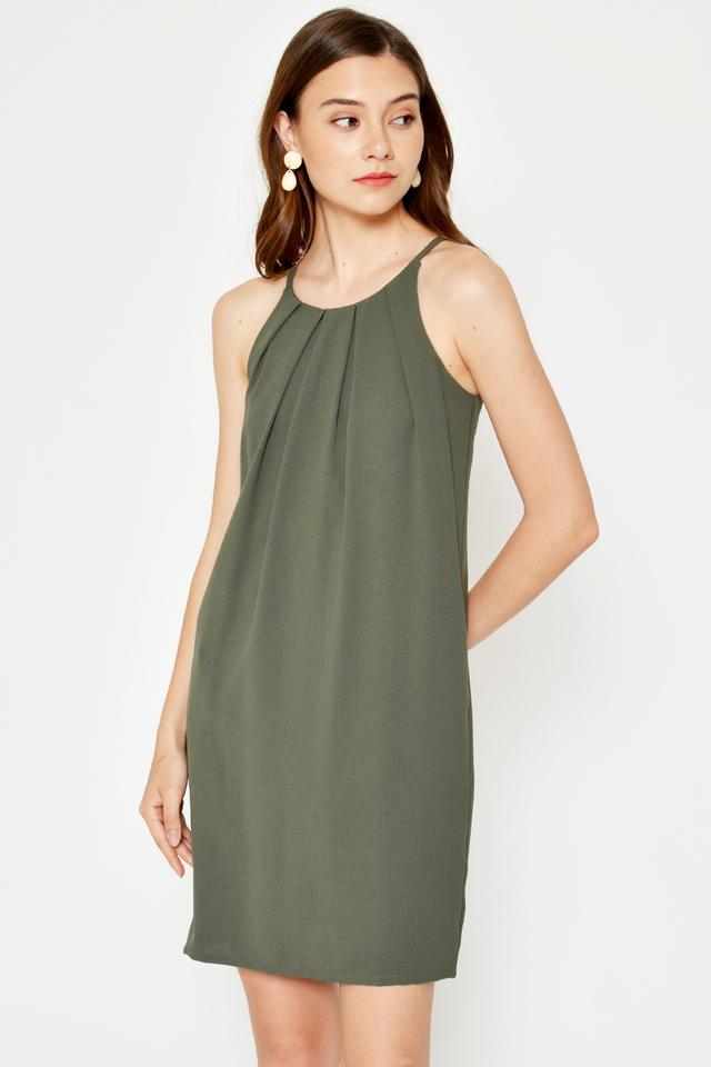 RAELIA PLEATED HALTER SHIFT DRESS