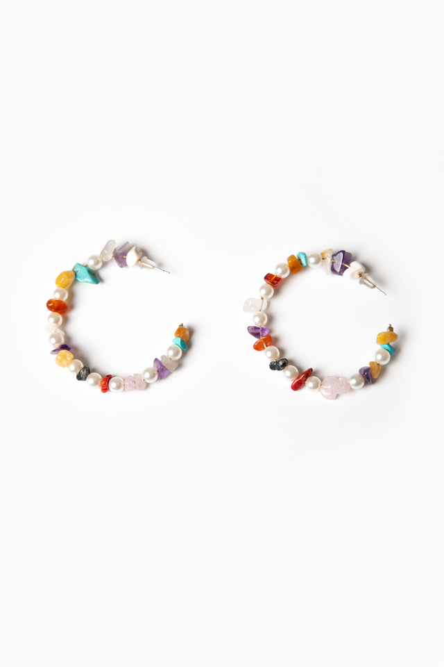 PRECIOUS STONES AND PEARL HOOP EARRINGS