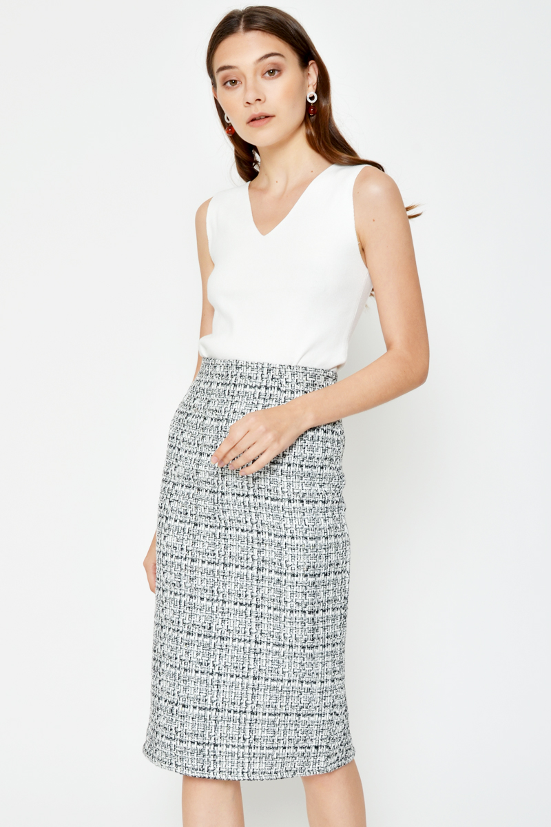 BRIENA TWEED MIDI SKIRT