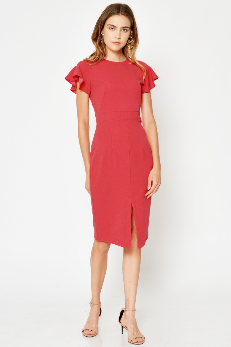 NORRIS FLUTTER SLEEVE DRESS