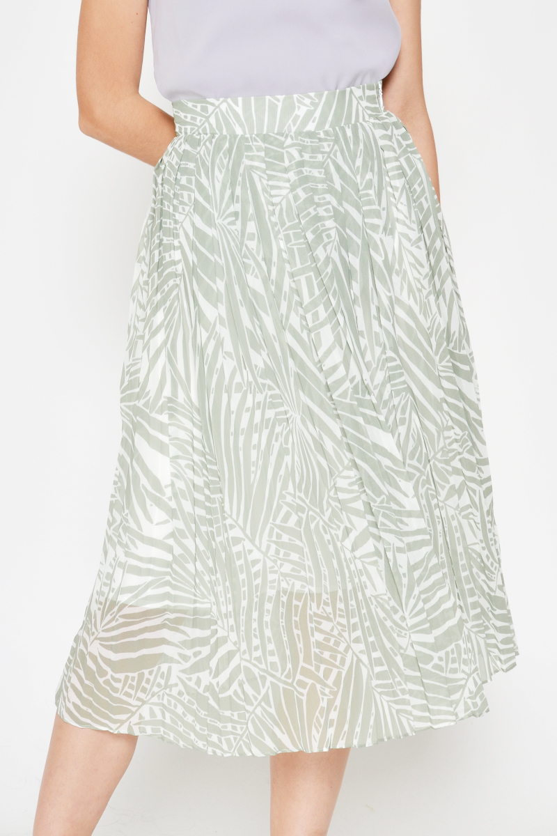 EILEEN LEAF PRINTED PLEATED SKIRT