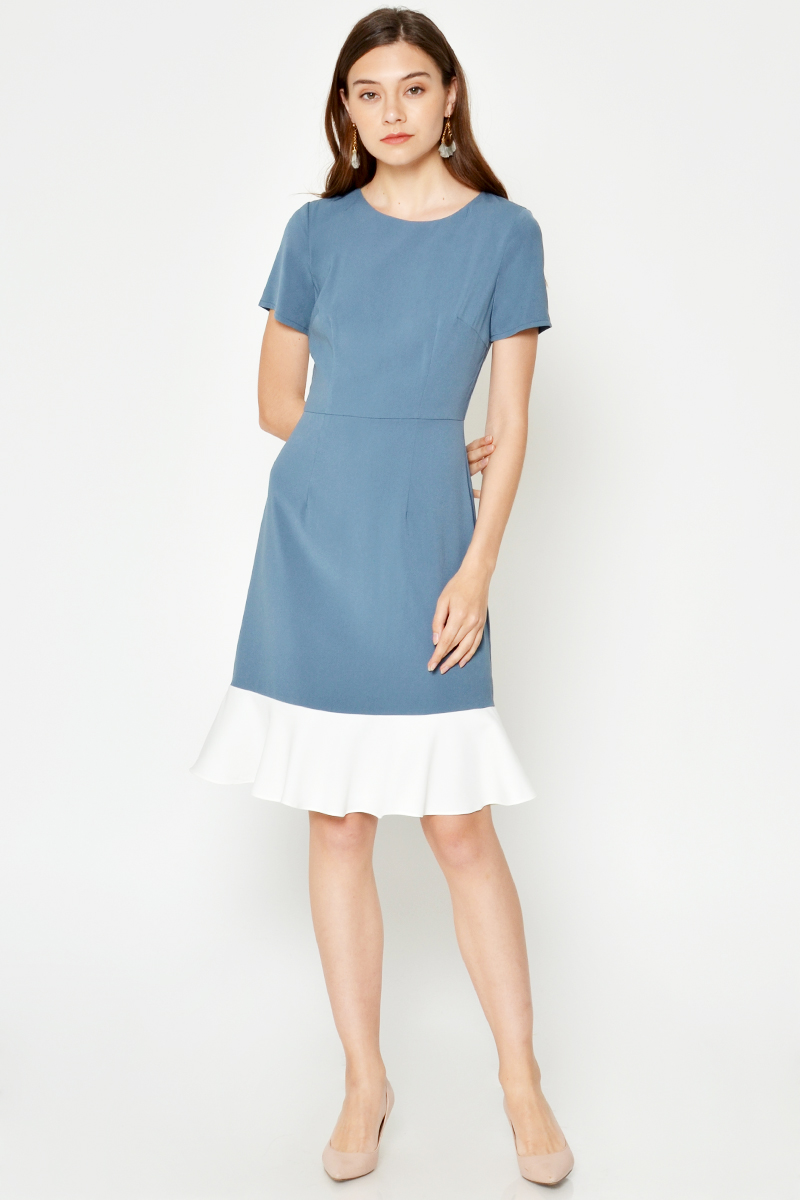 FELIN COLOURBLOCK FLOUNCE MIDI DRESS