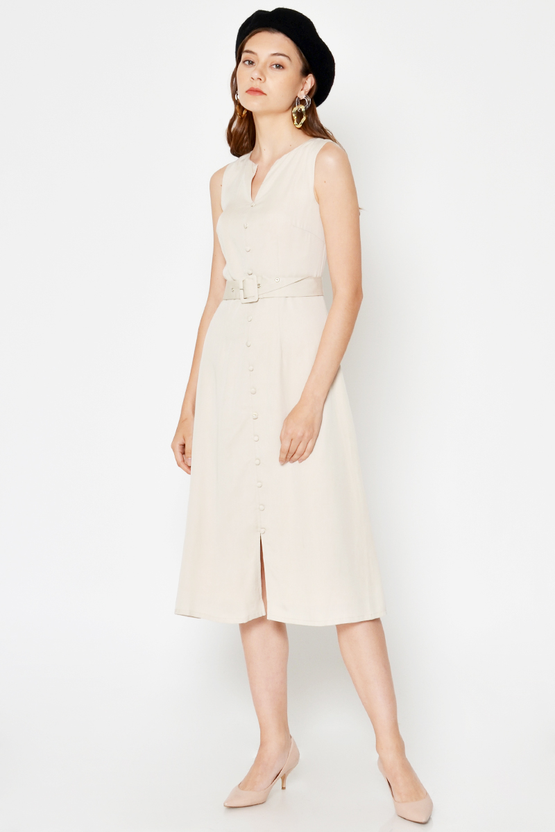 GILDA BUTTONDOWN MIDI DRESS W BELT