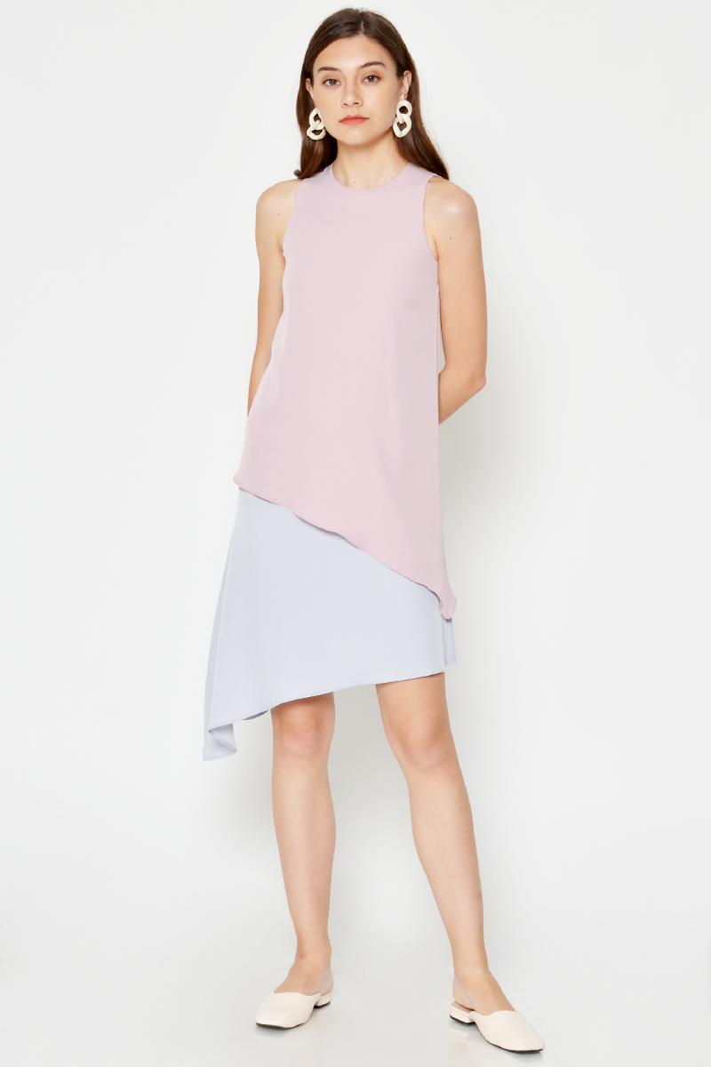 KAREEN COLOURBLOCK LAYERED ASYMMETRICAL DRESS