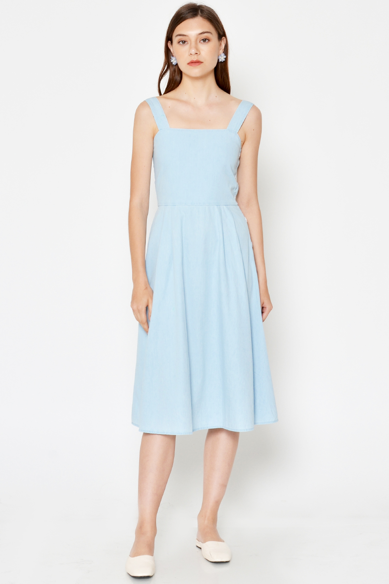 NYSON DENIM SIDE BUTTON FLARE DRESS