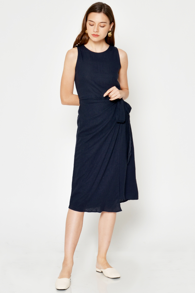 PENNY LINEN WRAP MIDI DRESS