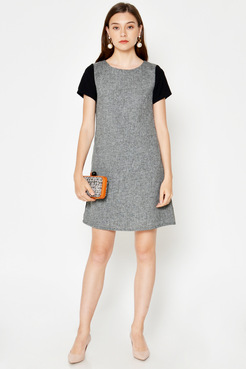 PHYLLIS CONTRAST TWEED SHIFT DRESS