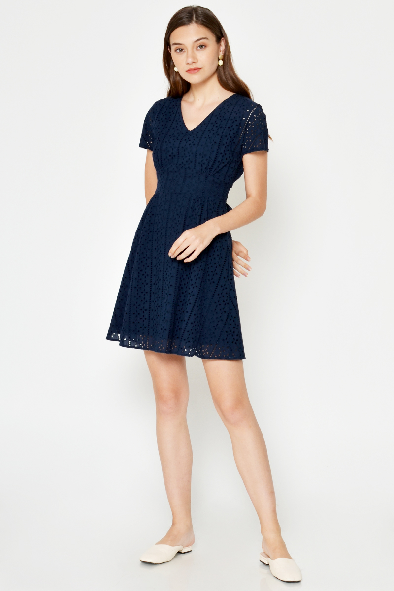 *BACKORDER* SIMONE EYELET BACK TIE FLARE DRESS