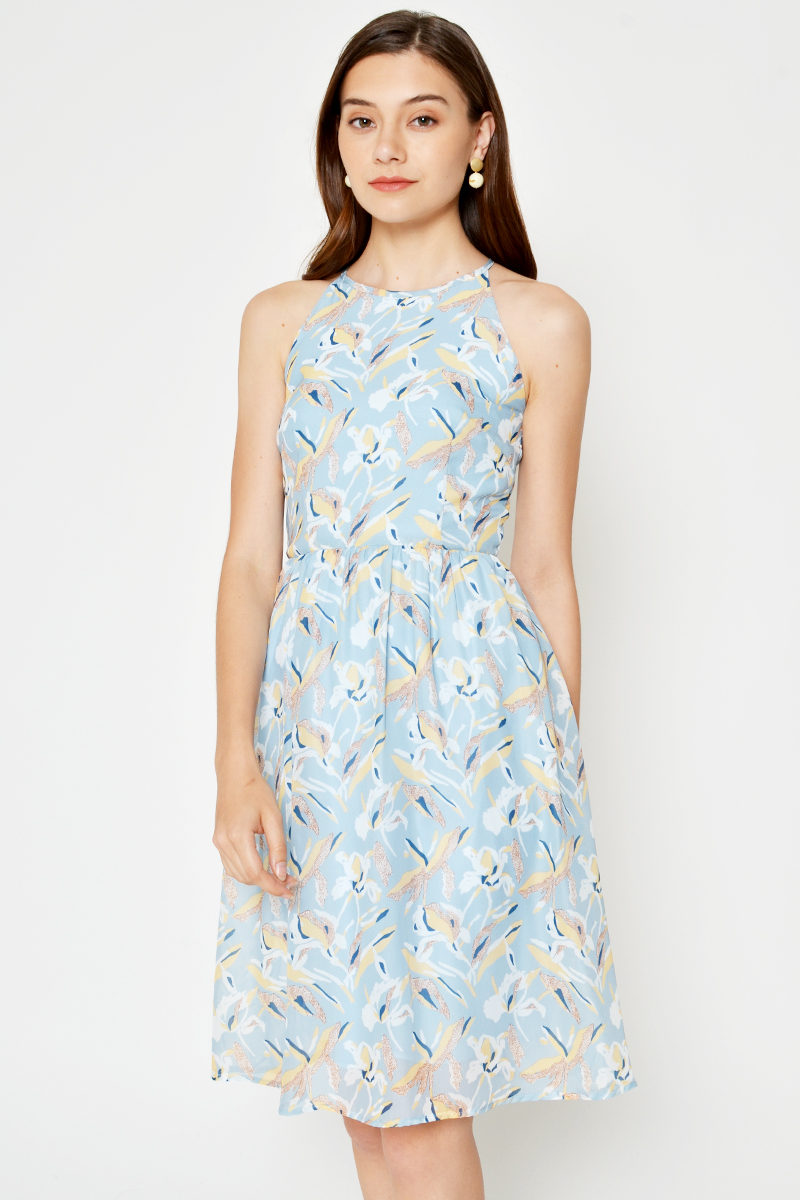 YILLIS FLORAL HALTER DRESS
