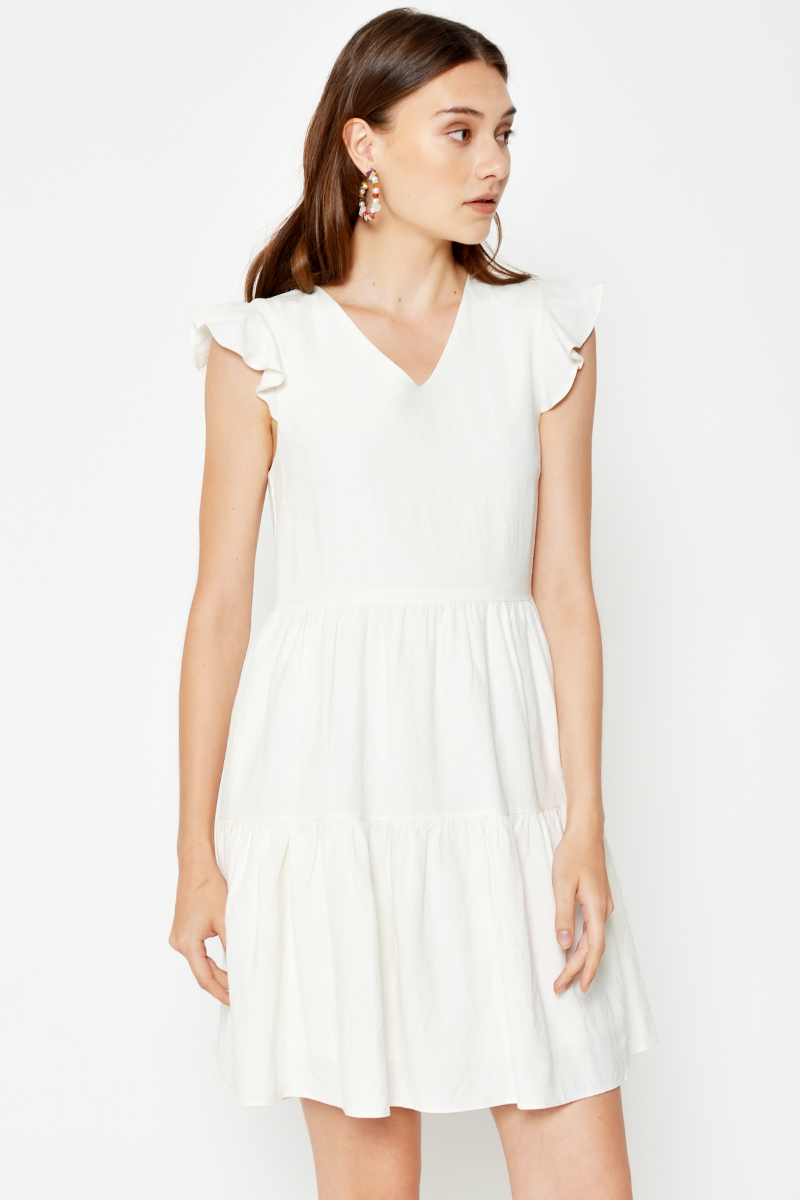 ELLA FLUTTER SLEEVE TIERED DRESS