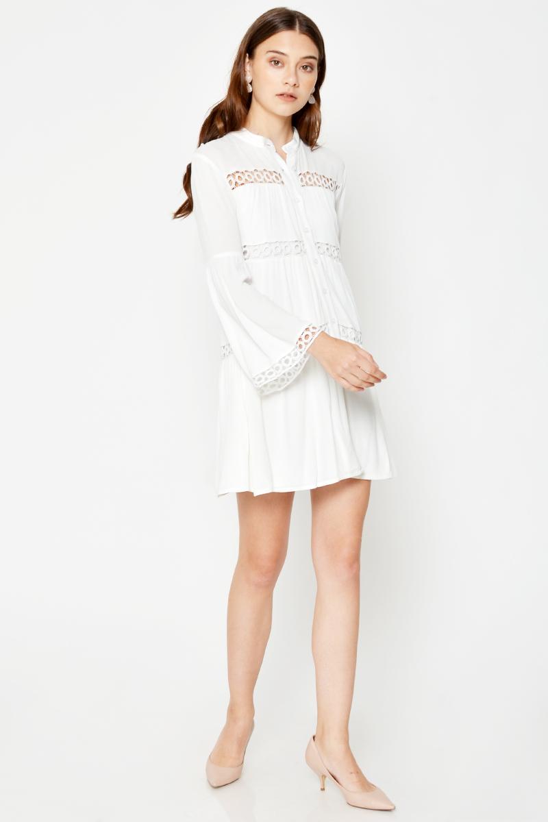 SASHA CUTOUT LONG SLEEVE SHIRT DRESS