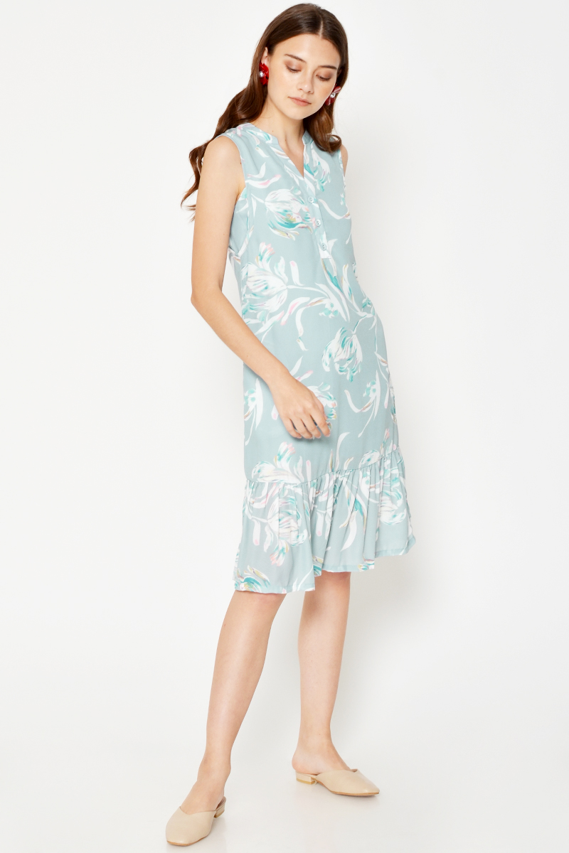YASMIN ABSTRACT BUTTONDOWN MIDI DRESS
