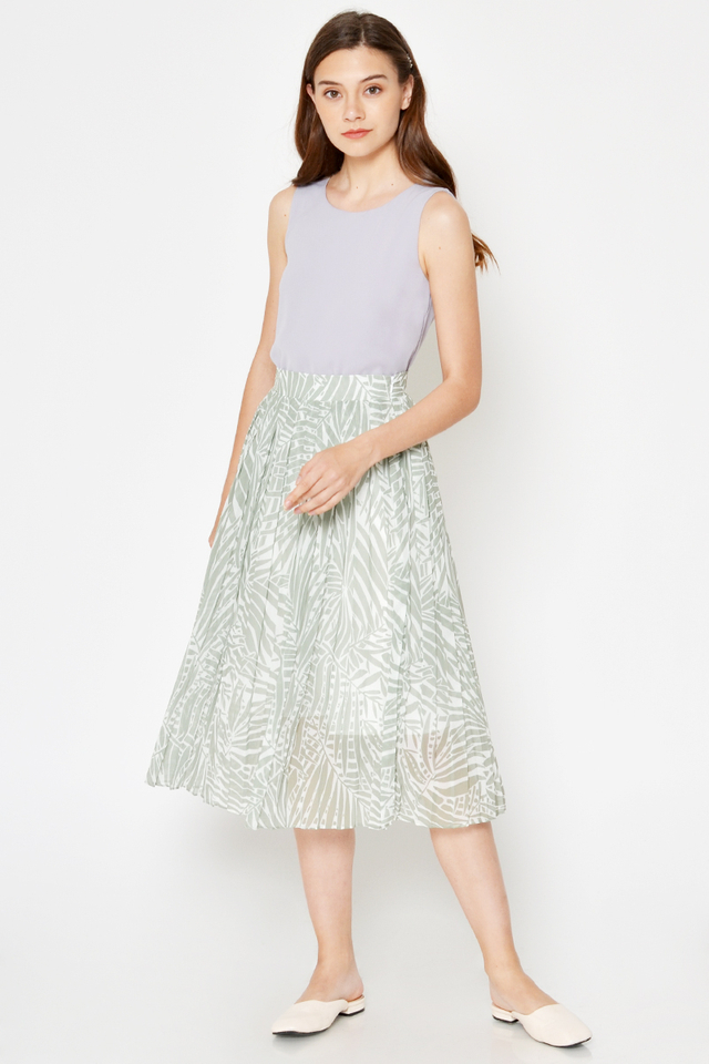 *BACKORDER* EILEEN LEAF PRINTED PLEATED SKIRT