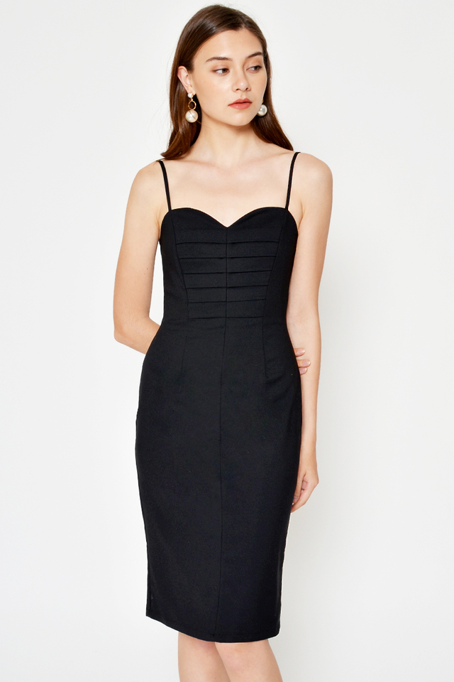 EMERSON PLEAT PANEL MIDI DRESS