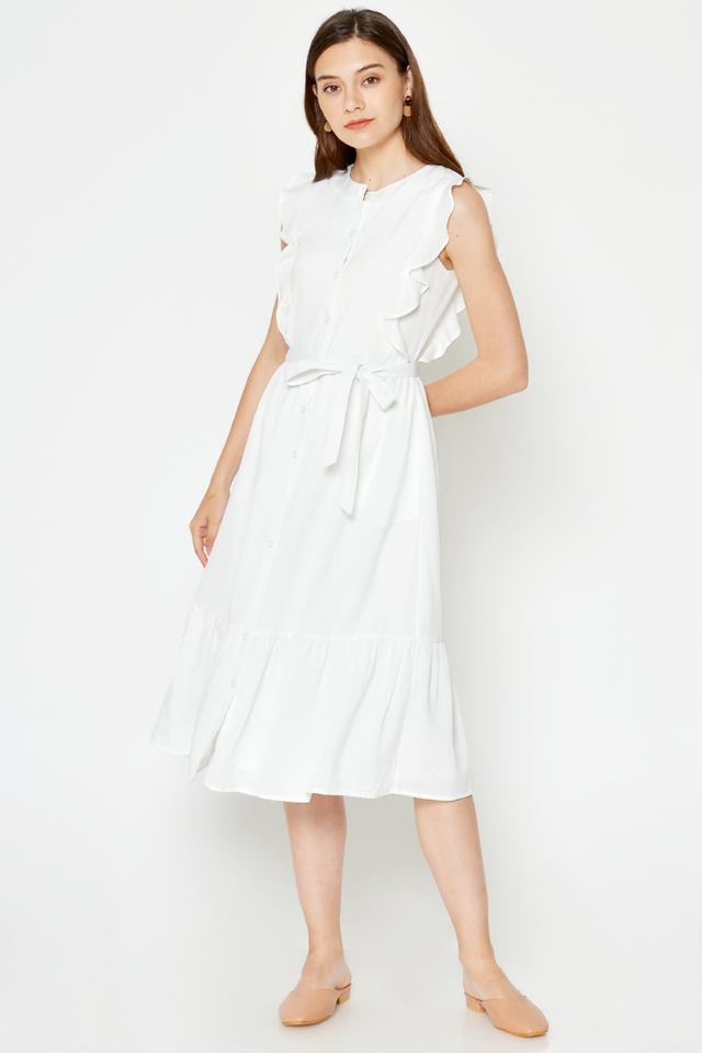 HAZEL STRIPE RUFFLE MIDI DRESS W SASH