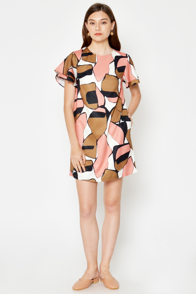 JODIE ABSTRACT FLUTTER SLEEVE DRESS