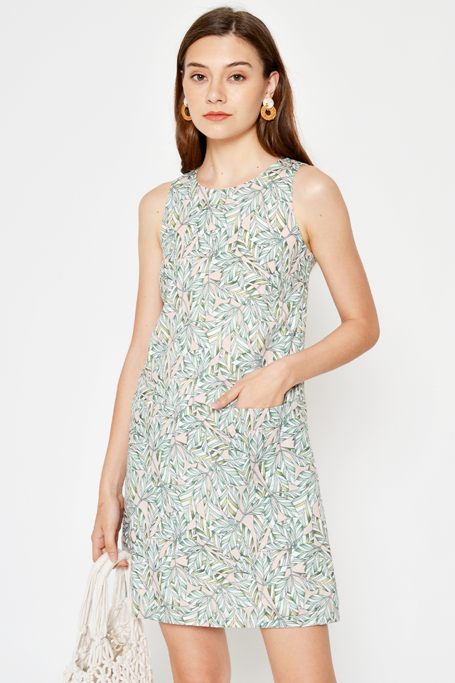 SHELA LEAF PRINTED POCKET SHIFT DRESS