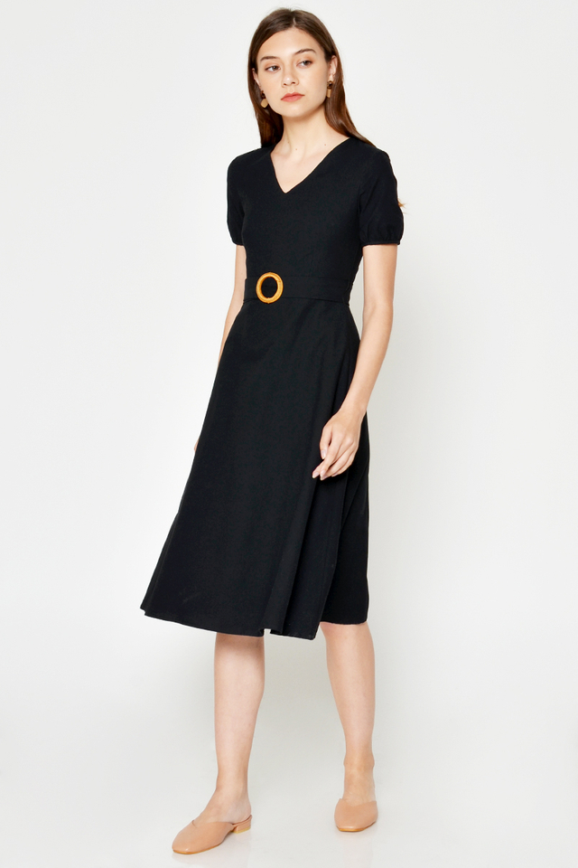 WENDA PUFF SLEEVE MIDI DRESS W BUCKLE SASH