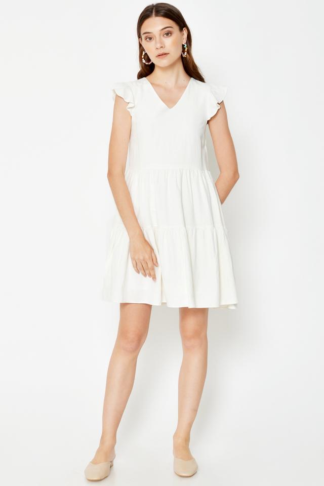 ELLA FLUTTER SLEEVE TIERED DRESS