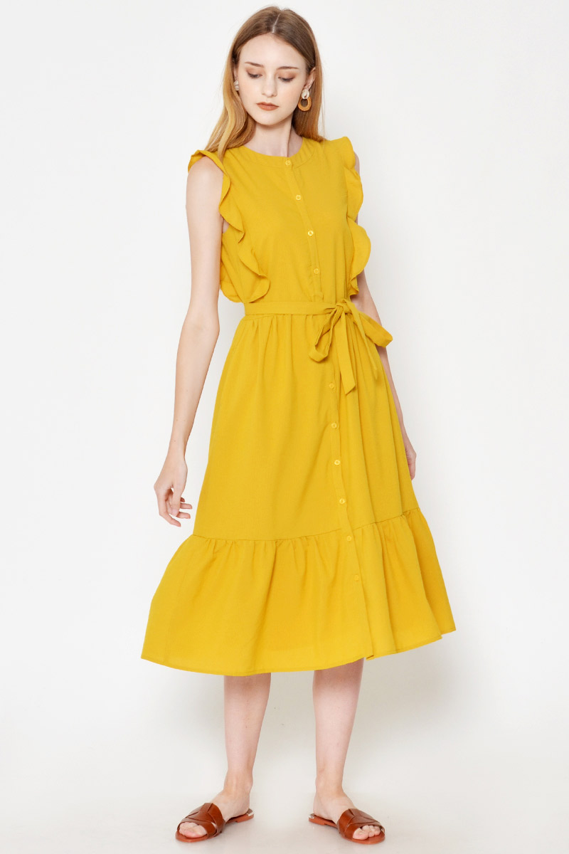 *BACKORDER 2* HAZEL STRIPE RUFFLE MIDI DRESS W SASH