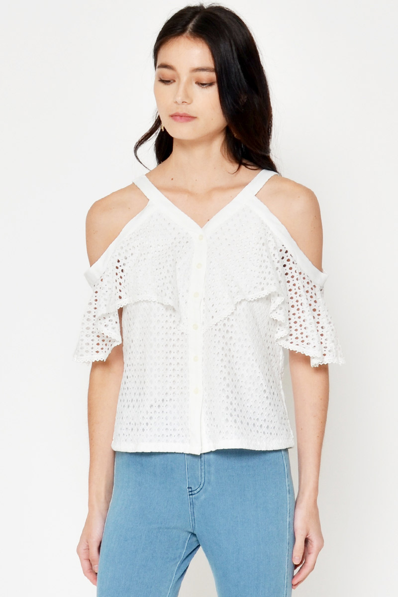 MELANIE DROP SHOULDER CROCHET TOP