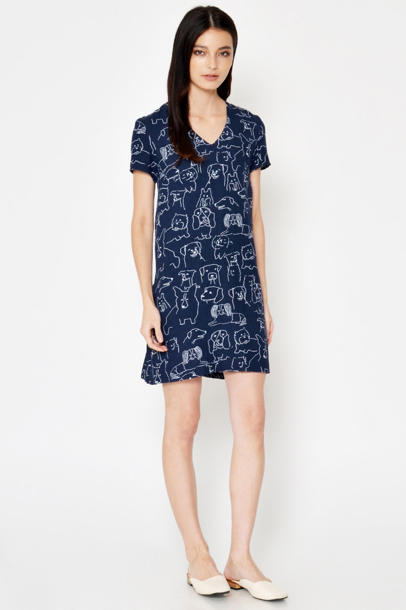 HACHI DOG PRINT BACK PLEATED DRESS