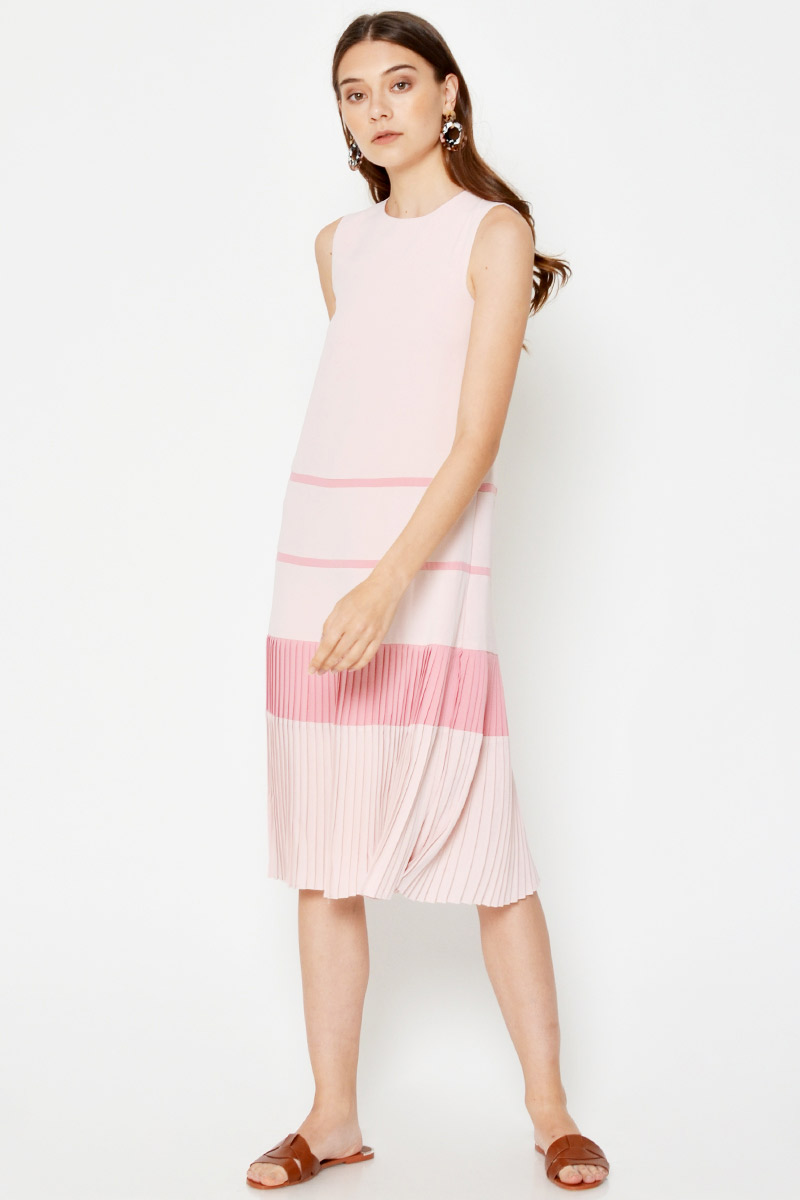 *BACKORDER 2* YOLANDA COLOURBLOCK PLEATED HEM MIDI DRESS