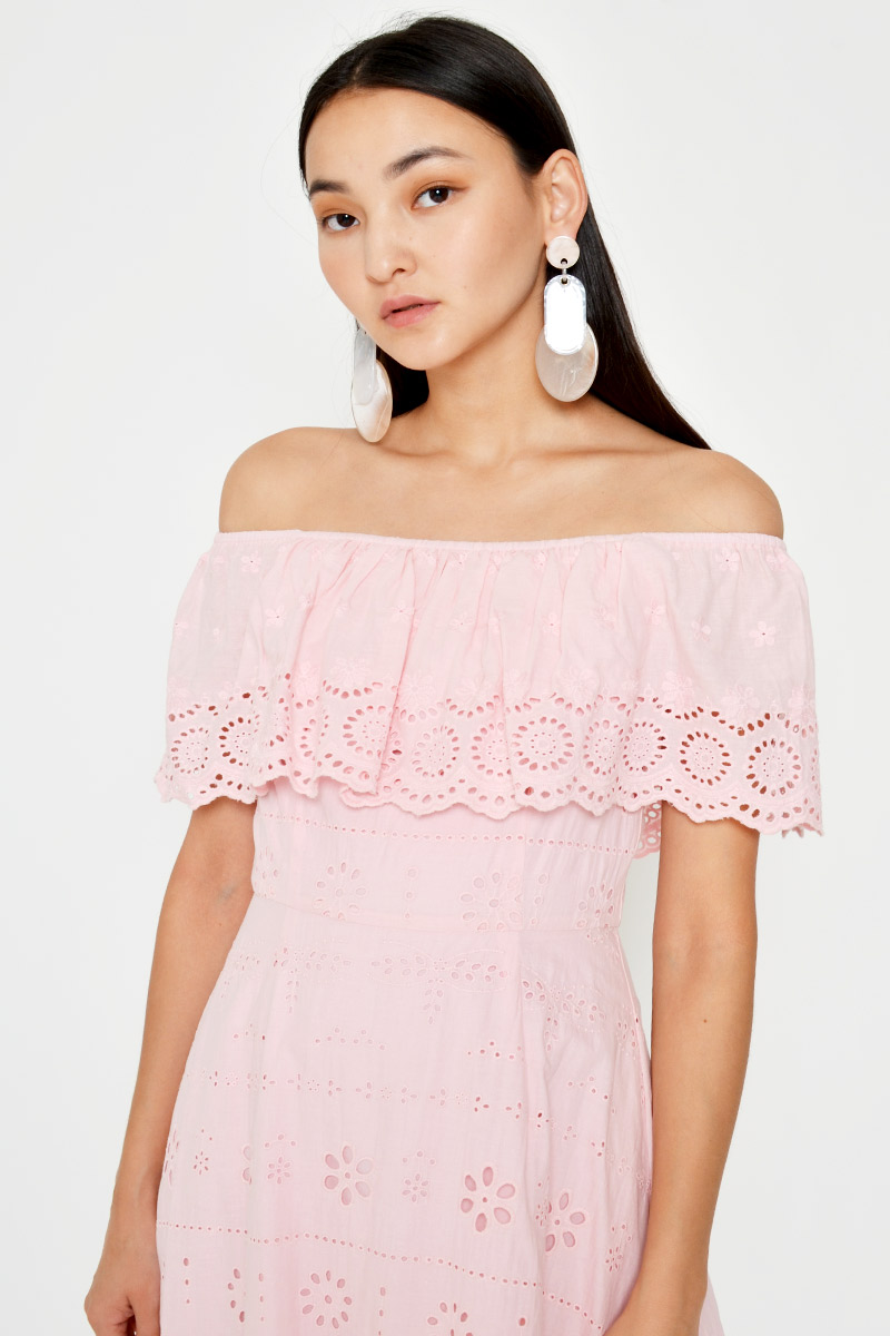 ALAINA OFF SHOULDER EYELET FLARE DRESS